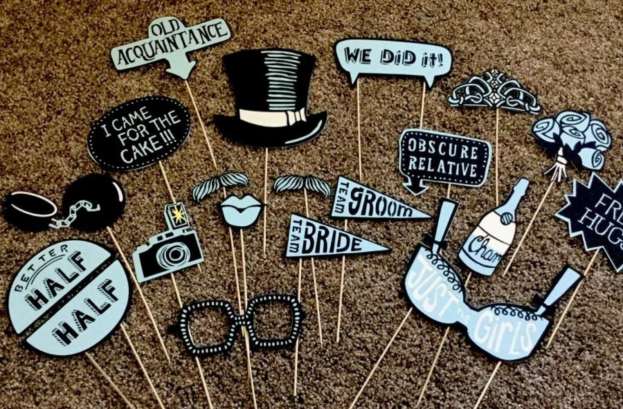 Wedding Photo Booth Props Luxury Funny Blue Modern On Trend Vintage Tea Party Team Bride Groom Sophisticated Top Hat Bubbly Crown
