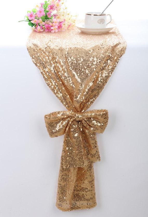 Wedding - Sequin Table Runner Gold, Sparkle Table Runner, Bling Table Runner, Wedding Table Runner, Custom Table Runner