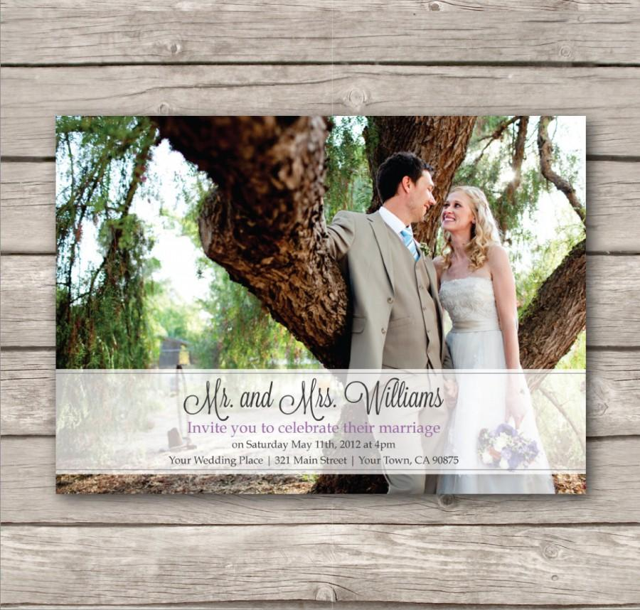 Wedding - Picture Wedding Invitations. PDF. Modern design. print at home. just married. eloped (1042)