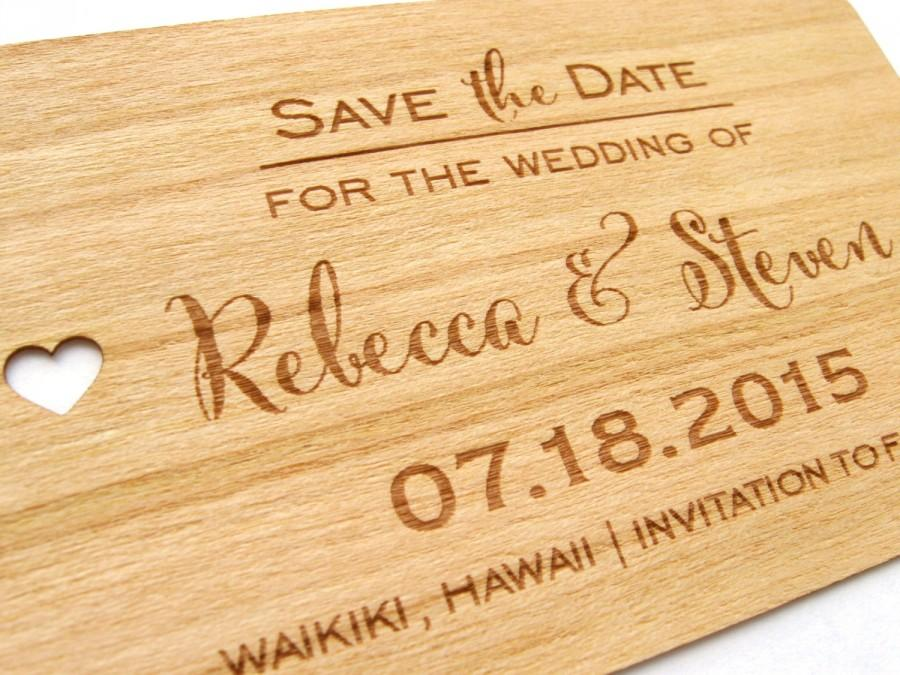 Hochzeit - Rustic Save the Date wood card / Wooden Save the Date card / Wedding Save the Date- Wood Personalize