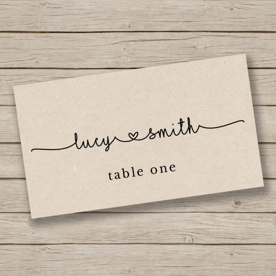 Printable escort card template place card template for Wedding place name cards