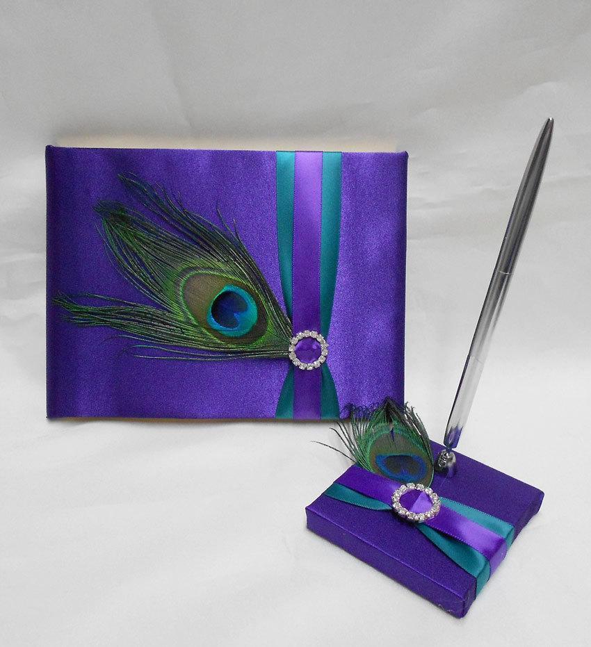 زفاف - Wedding Accessories Sweet Sixteen Peacock Feather Purple Teal Guest Book Pen Set Your Colors