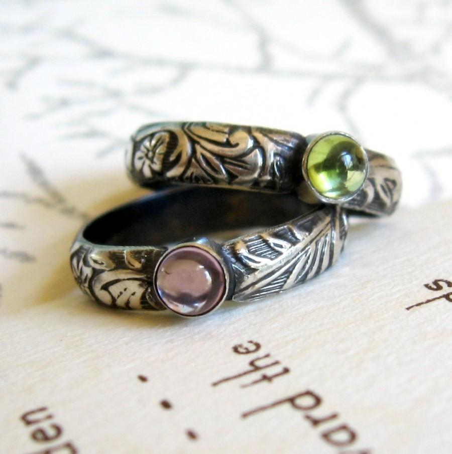 Свадьба - Gemstone Ring Frond and Floral PromiseRing or Stack Ring - Oxidized Sterling Silver Cabochon