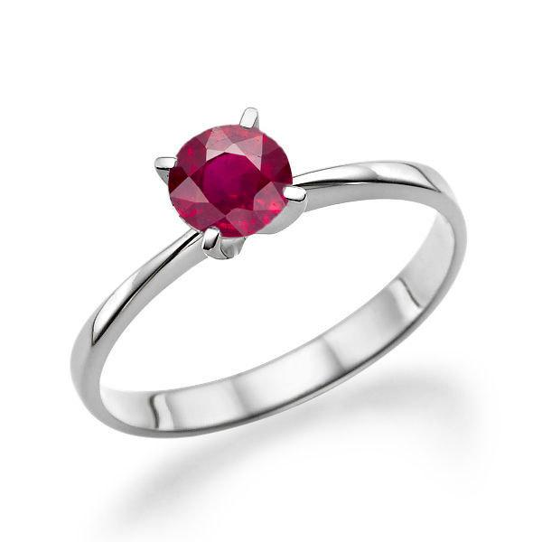 Ruby Engagement Ring 14k White Gold 0 20 Ct Art Deco Solitaire Vintage