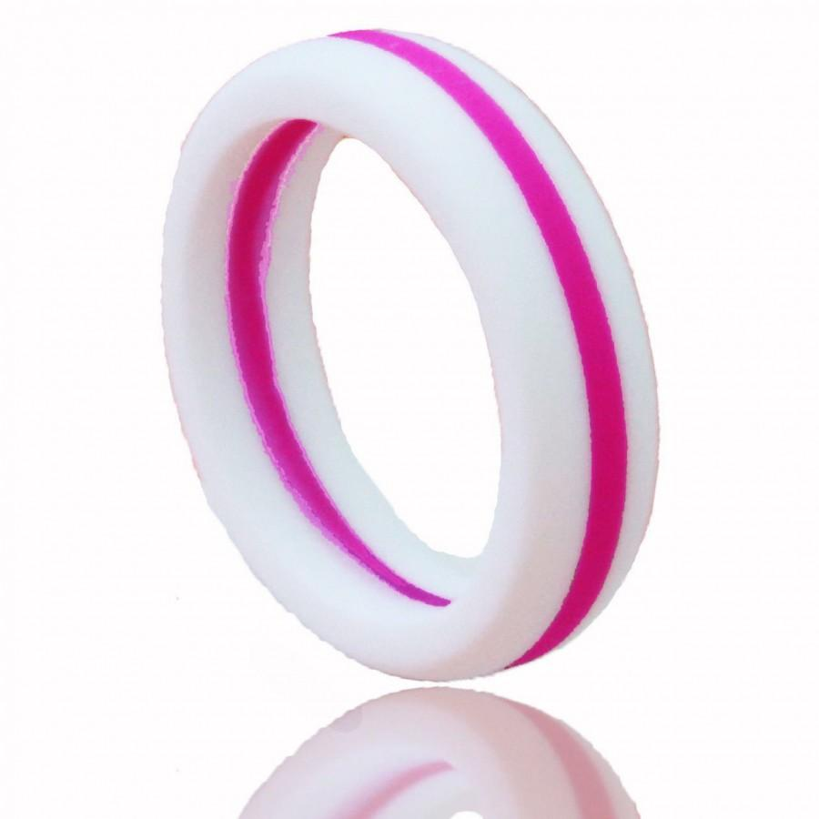 Women S Silicone Wedding Ring White With Hot Pink Stripe 2569365