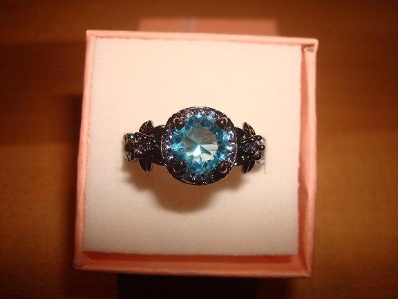 زفاف - Diamond Cut Aquamarine 10KT Black GF Twisted Halo Engagement Ring Size 6