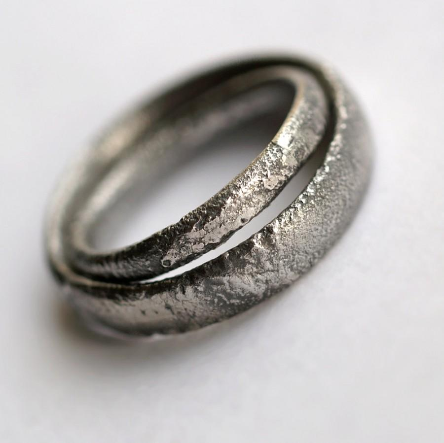 rustic wedding bands set oxidized sterling silver matching rings - Rustic Wedding Rings