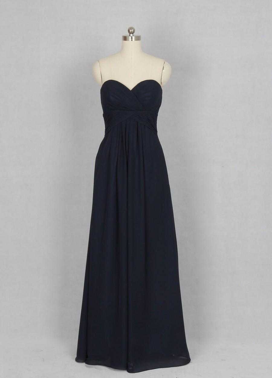 زفاف - Dark Navy Bridesmaid Dress, A-line Sweetheart Floor-length Chiffon Bridesmaid Dress