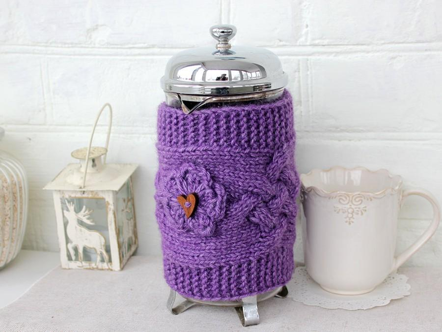 Свадьба - French Press Coffee Tea Pot Cozy Warmer Valentine's Day Gift Mom Sister Wife Gift Lilac Cozy Cover French Press Choose color Available 1 lit