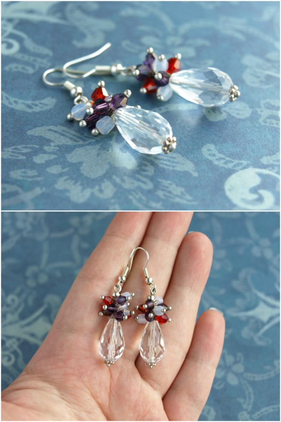Wedding - Clear crystal teardrop Faux Diamond earring Ice clear earring Cluster drop earring Dangle crystal earring Teardrop bicone earring