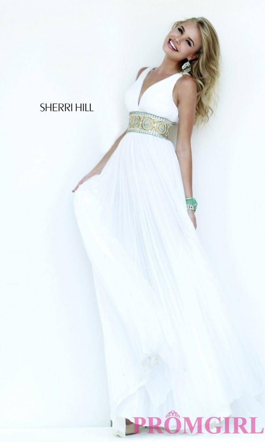 894feee77eb2 Sherri Hill Floor Length V-Neck Dress with Beaded Empire Waist - Discount  Evening Dresses