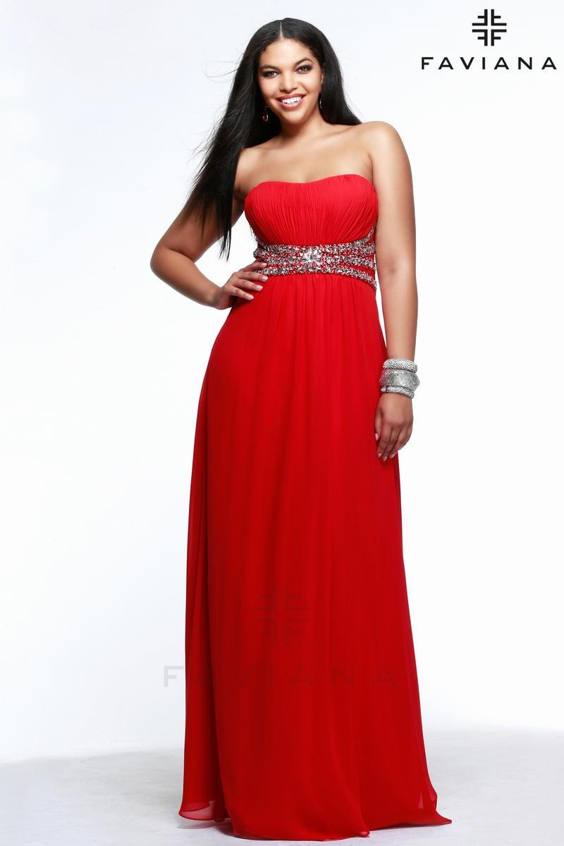 425a8658acd Faviana 9354 Plus Size Lace Up Back Gown - Brand Prom Dresses ...