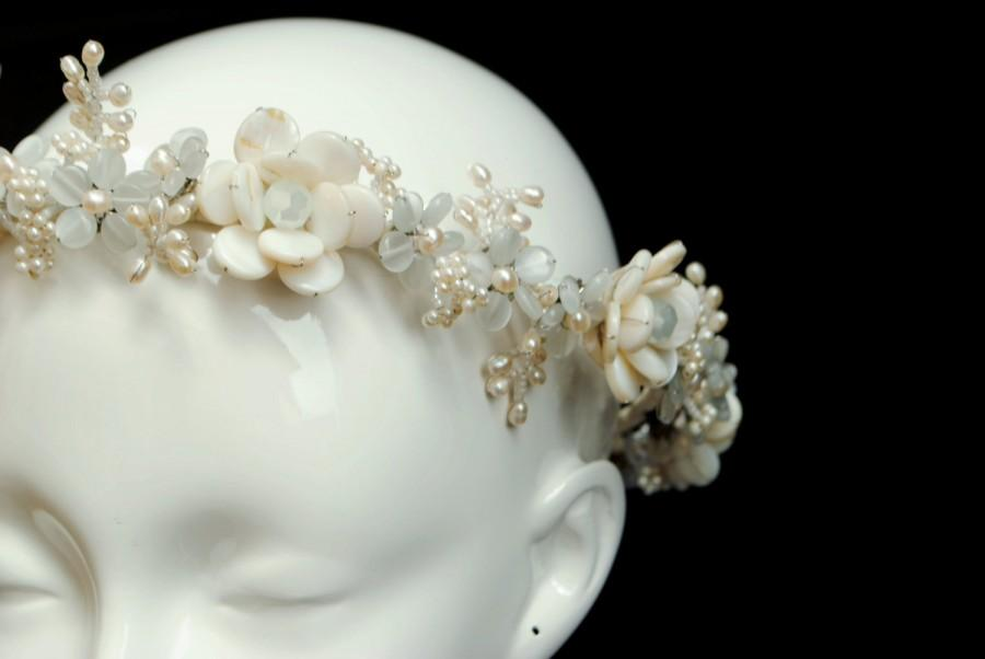 Mariage - Jewelled Pearl and Crystal Flower Garland / Floral Bridal Crown - Blanca