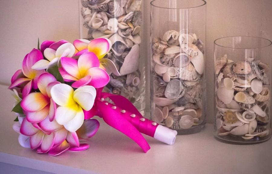 Mariage - Pink Frangipani Plumeria Posy Bouquet Real-Touch Destination Wedding