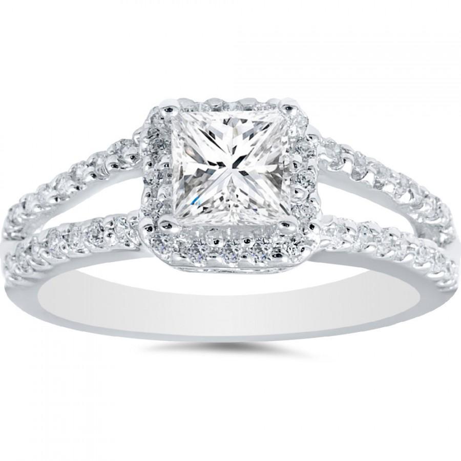 103 Cttw Diamond Princess Cut Halo Vintage Style Engagement Ring Split  Shank 14k White Gold, Diamond Princess Cut, Vintage Diamond Ring