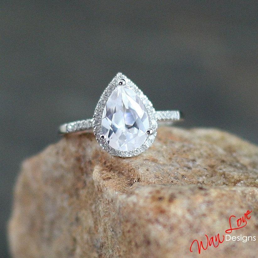 زفاف - White Sapphire & Diamond Pear cut Halo Engagement Ring 2.5ct 10x7mm 14k 18k White Yellow Rose Gold-Platinum-Custom-Wedding-Anniversary