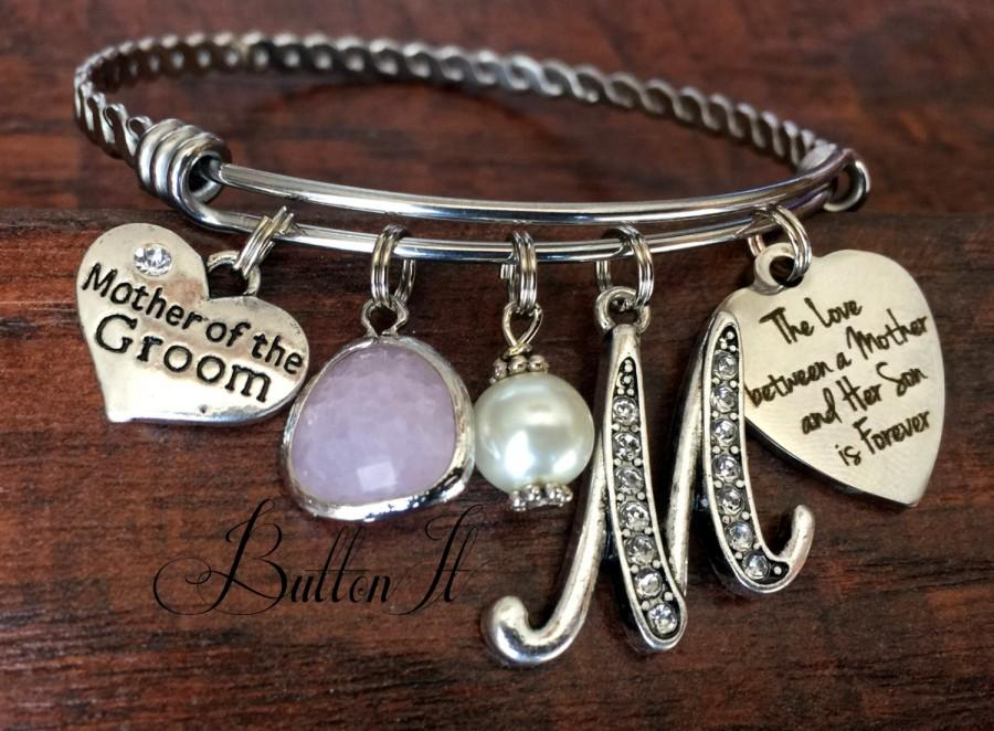 Mariage - Mother of the GROOM bracelet, Mom gift from groom, wedding keepsake, love between a mother and her son is forever, Mother of the BRIDE