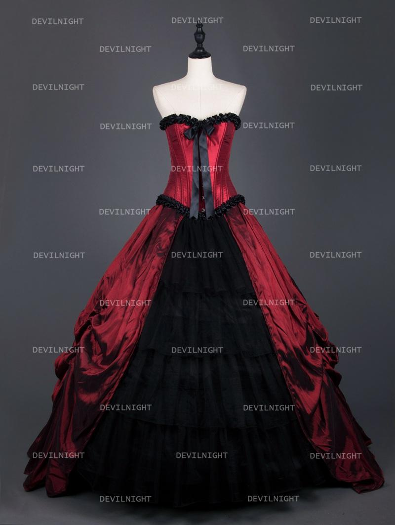 Red Gothic Corset Long Prom Ball Gowns #2569592 - Weddbook