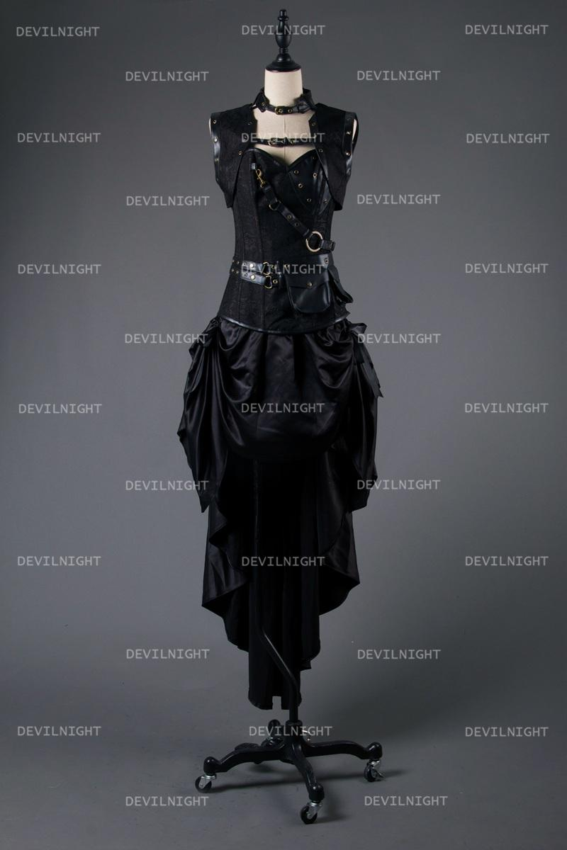 Black Steampunk Gothic Corset Burlesque High-Low Prom Party Dress ...