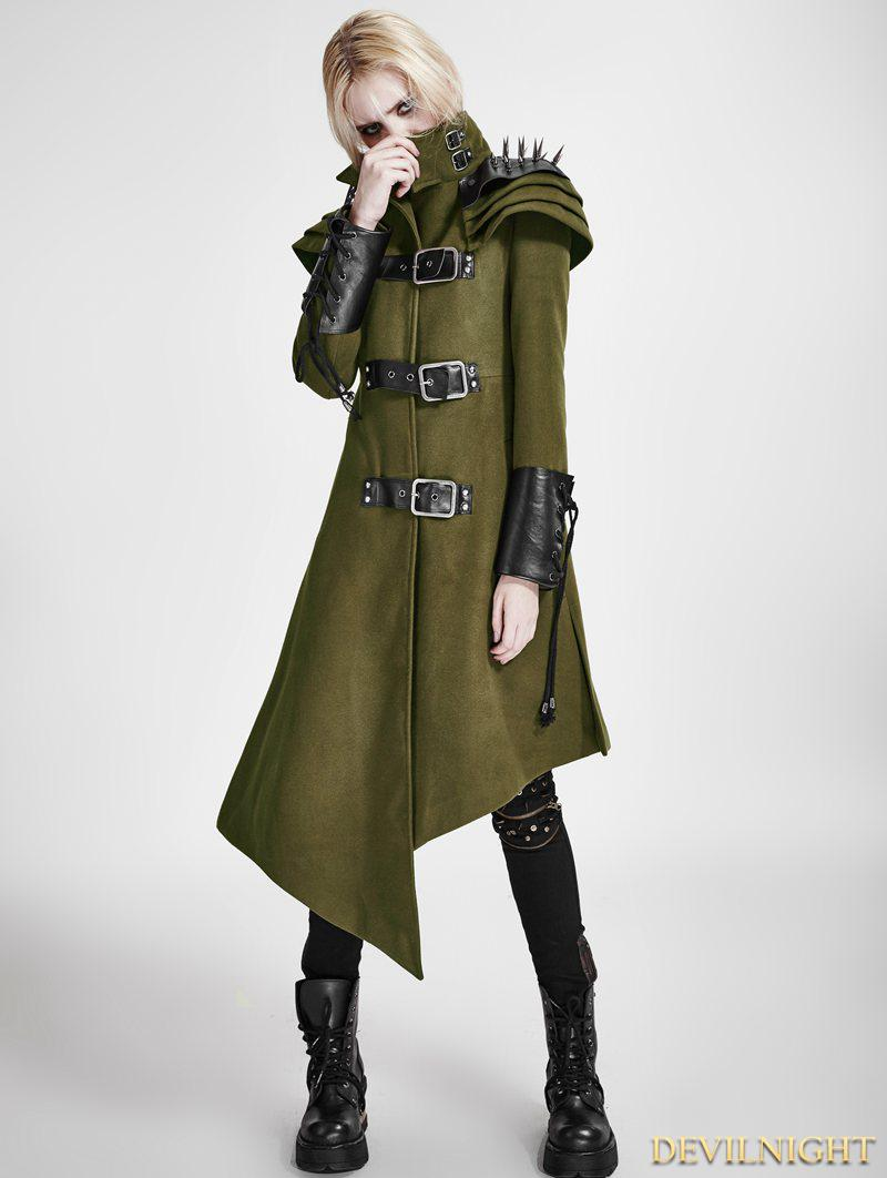 Mariage - Green Gothic Asymmetric Woolen Military Jacket for Women