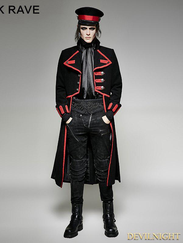 Wedding - Black and Red Military Unifrom Long Coat for Men