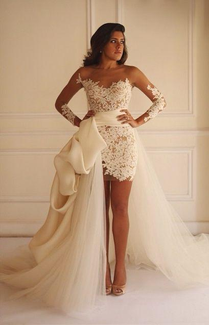 Свадьба - Hi-lo Illusion Lace Wedding Dresses Long Sleeves Sheath A-line Detachable Train Dreamy Bridal Gowns_New A-Line Wedding Dress_A-Line Wedding Dresses_Wedding Dresses_Buy High Quality Dresses From Dress Factory