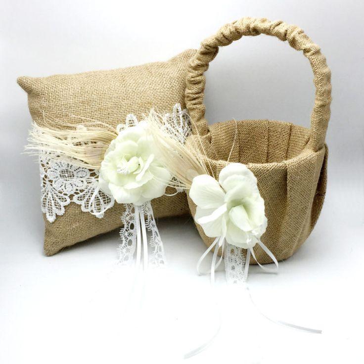 Свадьба - 2Pcs/set Vintage Hessian Burlap Wedding Ring Pillow & Flower Basket With Flower Feather