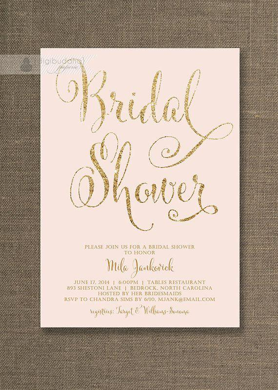 blush pink gold bridal shower invitation glitter pastel wedding hens party script modern free priority shipping or diy printable mila