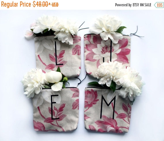 Wedding - SALE 20% OFF/ BRIDESMAID gift set/ personalized letter make up bag from tapestry print fabric storage pouch monogramed wedding souvenir