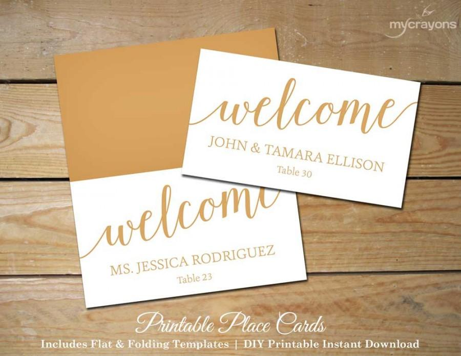 Bella script wedding place cards gold printable for Wedding place name cards