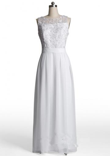 Wedding - Scoop Appliques Chiffon White Ruched Floor Length