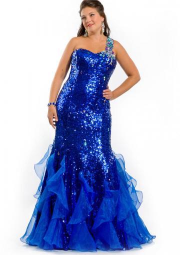Wedding - One Shoulder Black Blue Tulle Satin Crystals Criss Cross Floor Length Sleeveless Mermaid