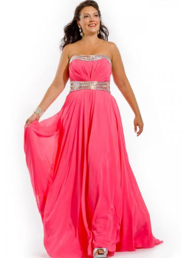 Wedding - Strapless Zipper Crystals Ruched Fuchsia Chiffon Floor Length Sleeveless