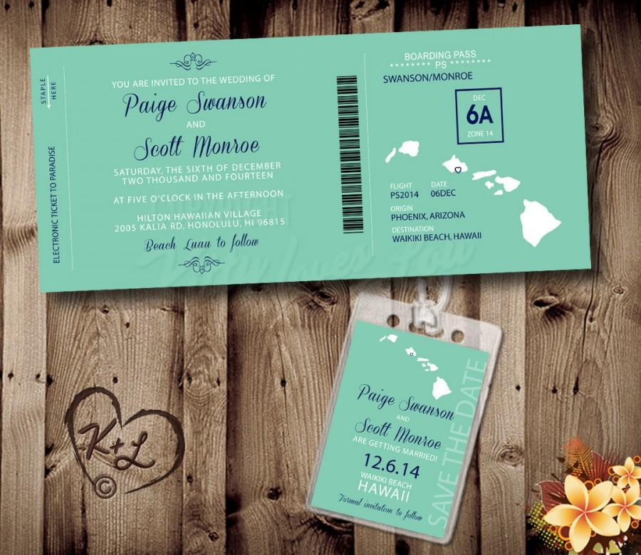 PRINTABLE Boarding Pass Wedding Set Digital PDF Destination Save The ...