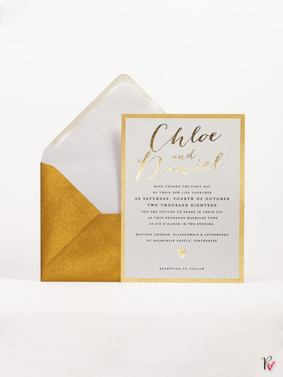 Chic Shine Wedding Invitation Gold Foil Wedding Invitation Suite