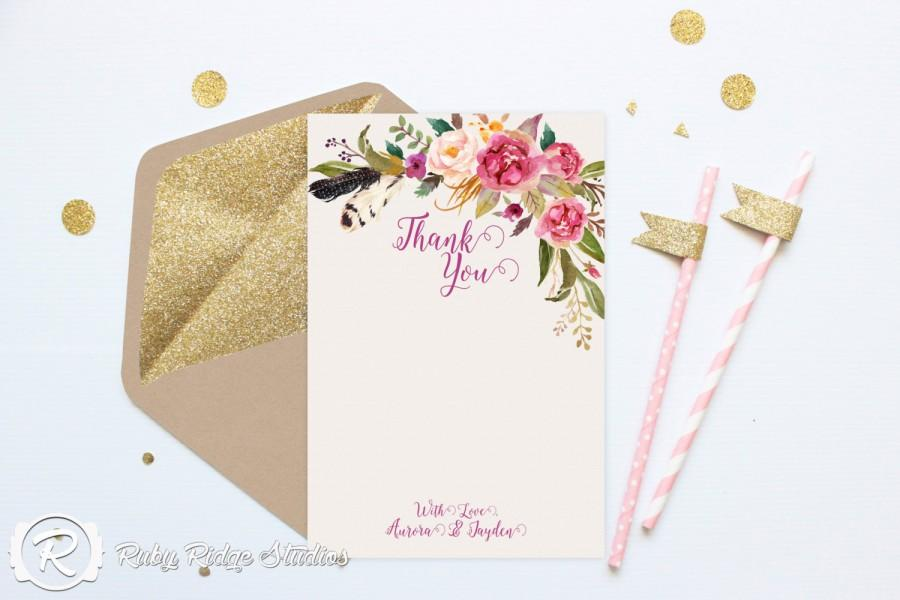 Printable Thank You Cards Watercolor Fl Bohemian Style Wedding Diy Invitations