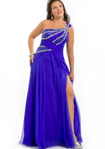 Wedding - Chiffon Sleeveless One Shoulder Floor Length Crystals Split Front