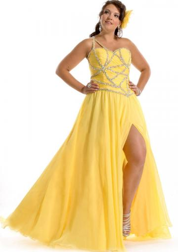 Wedding - Chiffon Split Front Sleeveless Yellow Red One Shoulder Floor Length