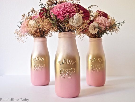 Свадьба - Pink And Gold Ombre Party Decor Centerpiece Painted Milk Bottle Home Decor Vase Blush
