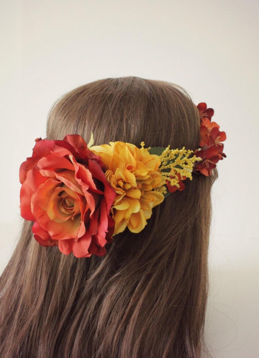 Mariage - Bridal flower crown, bridal headpiece, golden yellow, wedding flower crown, woodland, fall, autumn floral crown