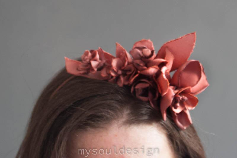 Wedding - Red Flower Crown, Red Flower Headband, Red Hair Flowers,Red Flower Girl Crown, Wine Colored Flower Crown,Wine Hair Flowers