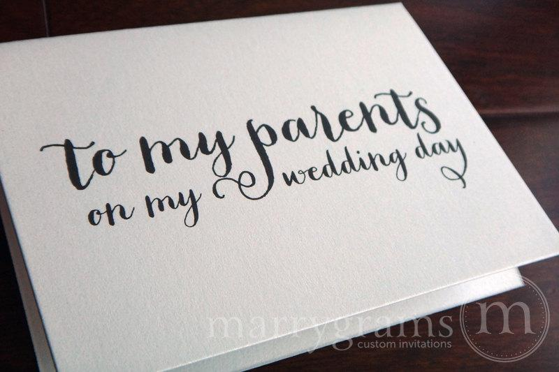 Wedding Day Gift From Groom To Bride: Wedding Card To Your Mother Or Father -- Parents Of The