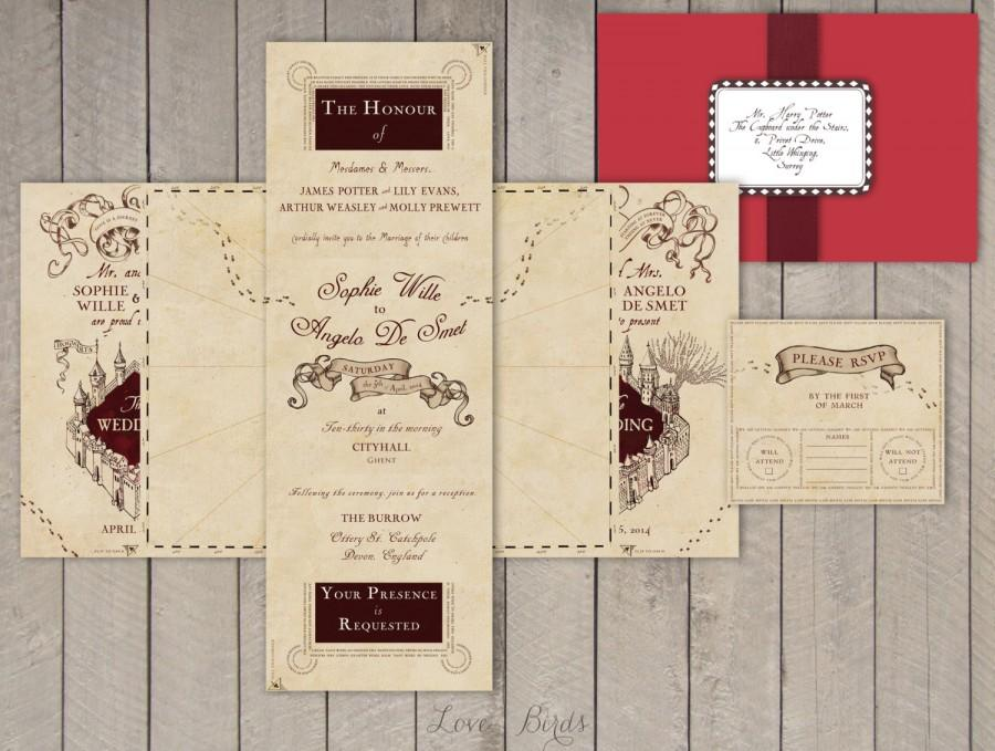 wedding invitation set harry potter marauders map invitation and rsvp digital file - Harry Potter Wedding Invitations