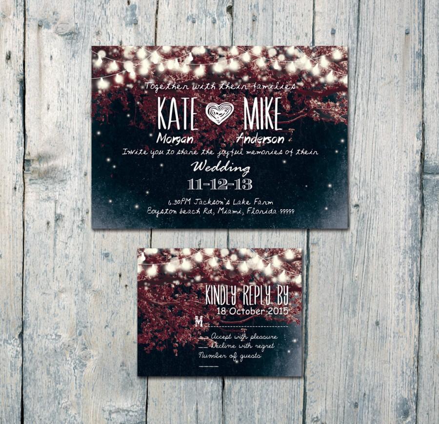 زفاف - Digital - Printable Files - Romantic Garden and Night Light Wedding Invitation and Reply Card Set - Wedding Stationery - ID210BR