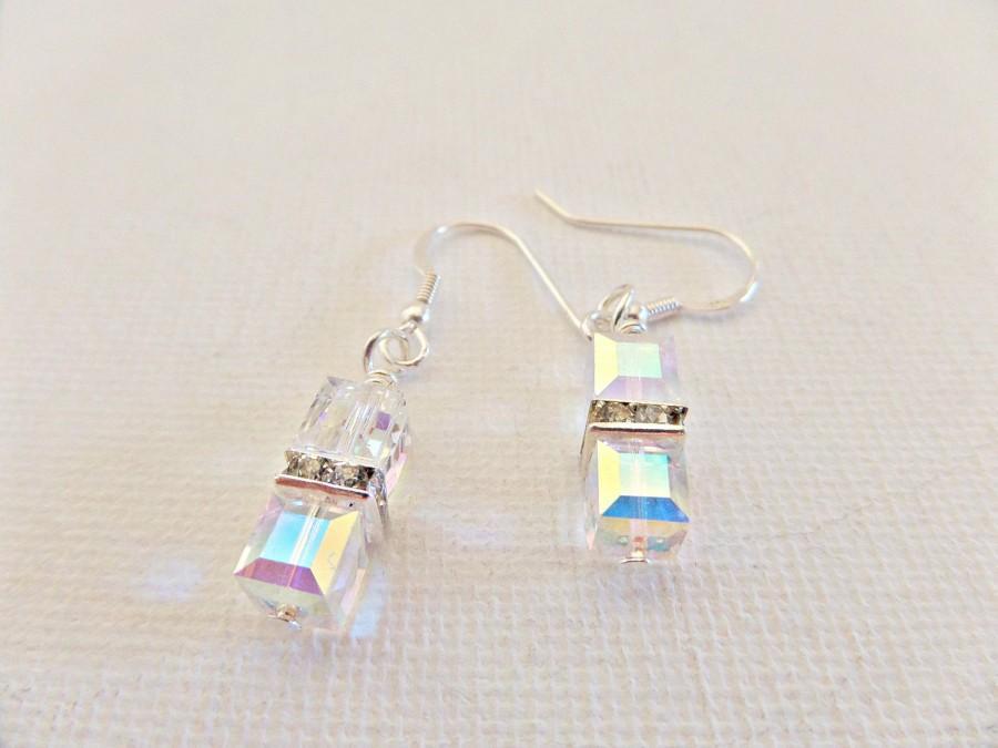 Mariage - Crystal cube earrings, Crystal Bridal earrings, Crystal Prom earrings, Crystal bridesmaid earrings, Swarovski crystal earrings, UK seller