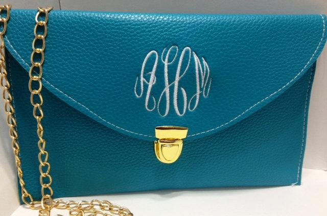 Mariage - Teal Monogrammed Clutch Purse, A Crossbody Purse with Detachable Chain