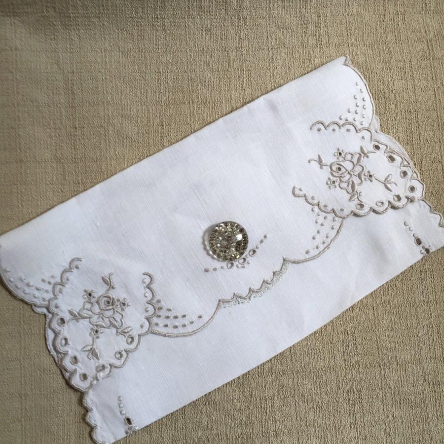 Mariage - Handmade Boudoir or Keepsake Bag Made from Vintage Linen