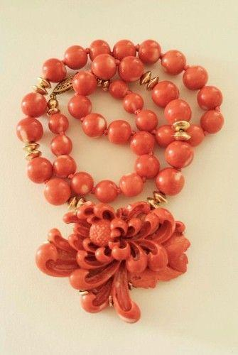 Wedding - Antique Chinese 14K Gold Mediterranean Salmon Coral Pendant Floral Necklace