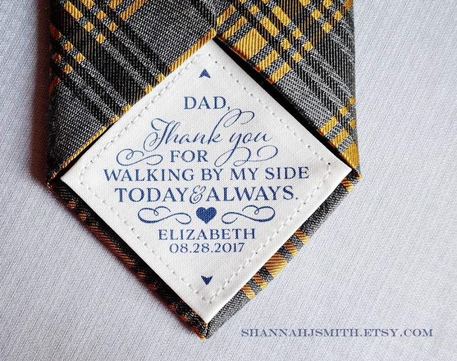 Hochzeit - Thank You Dad Wedding Tie Patch • Personalized Dad Gift • Walking By My Side • Suit Label