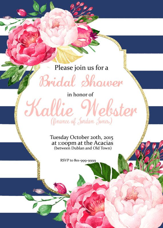 Свадьба - Pink Floral Stripes Invitation - Bridal Shower, Baby Shower, Brunch, Birthday (can Be Changed To Anything) Party Invite - Digital Download